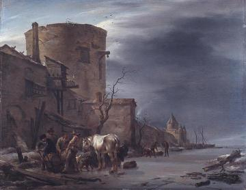 The city wall of Haarlem in the winter. Artwork by Nicolae Berchem