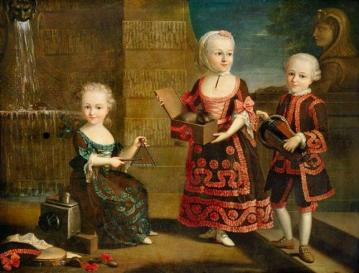 A Girl With A Marmoset In A Box, A Girl With A Triangle Sitting, And A Boy With A Hurdy-gurdy Artwork by François-Hubert Drouais