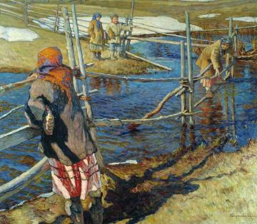 Crossing the Stream Artwork by Nikolai Petrovich Bogdanov-belsky