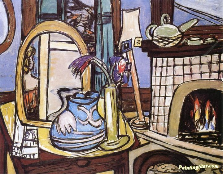 Large Still LIfe with Pigeons Artwork by Max Beckmann