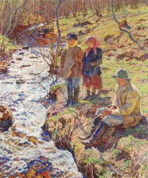 Trout Fishing Artwork by Nikolai Petrovich Bogdanov-belsky