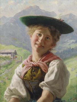 Girl in the Mountain Landscape Artwork by Emil Rau