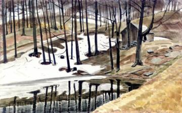 Snowbank and Pool Artwork by Charles Burchfield