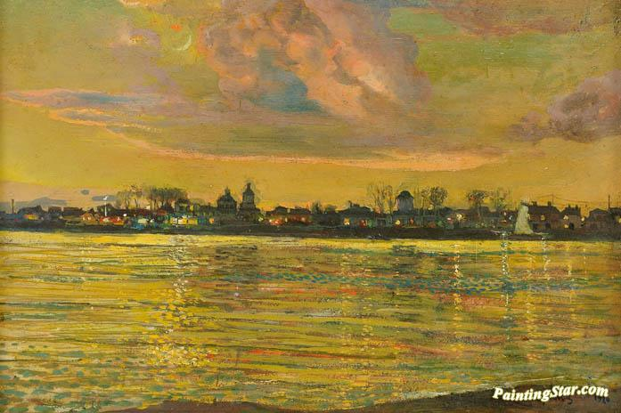 View Of A Town Across A River At Night Artwork by Isaak Brodsky