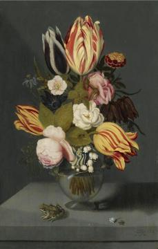 Still Life with Variegated Tulips, Pink and White Roses, etc. in a Globose Vase Artwork by Ambrosius Bosschaert