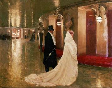An elegant couple entering a box at the Paris Opera. Artwork by Jean Georges Beraud