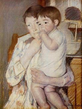 Baby in His Mother's Arms, Sucking His Finger Artwork by Mary Cassatt