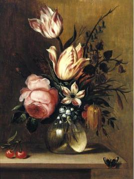 A still life with tulips, a pink rose and other flowers in a vase Artwork by Hans Bollongier