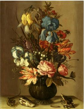 Still life of roses tulips irises french marigold etc artwork by