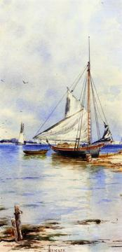 A Gaff-rigged Sloop Artwork by Alfred Thompson Bricher