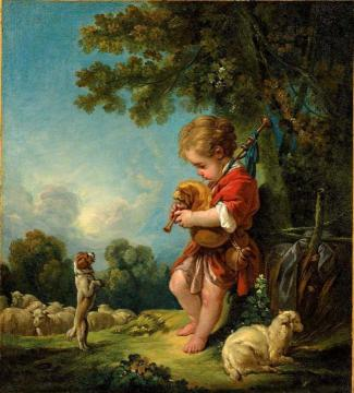 Shepherd Boy Playing Bagpipes Artwork by Francois Boucher