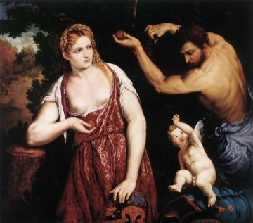 Venus and Mars with Cupid Artwork by Paris Bordone