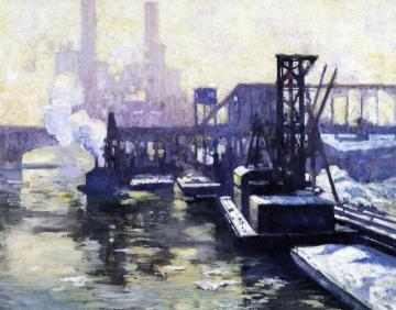 Winter Industrial Landscape On The Chicago River Artwork by Alson Skinner Clark