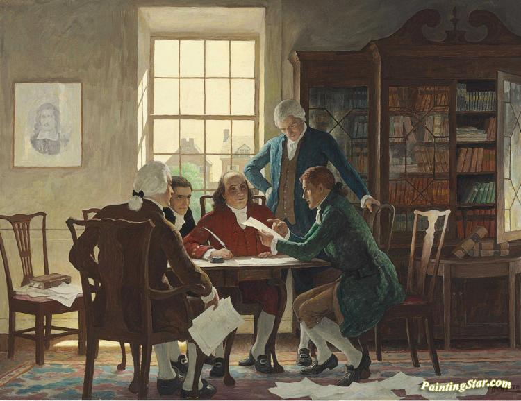 Drafting The Declaration Of Independence - 1776 Artwork By Newell ...