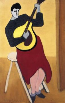Mando-cello Player Artwork by Milton Avery