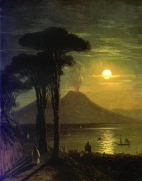 The Bay Of Naples At Moonlit Night, Vesuvius Artwork by Ivan Constantinovich Aivazovsky