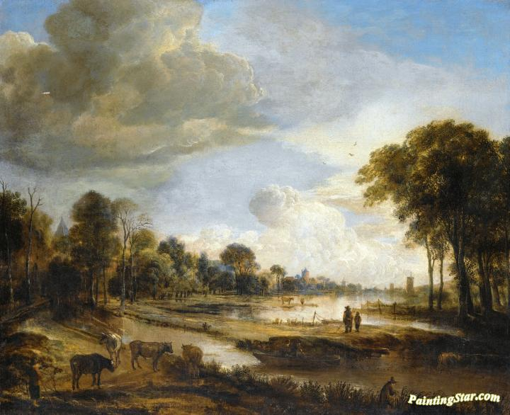 1f9910c50e4e A River Landscape with Figures and Cattle Artwork by Aert van der Neer