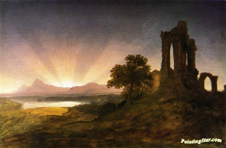 Gothic Ruins At Sunset Artwork By Thomas Cole Oil Painting