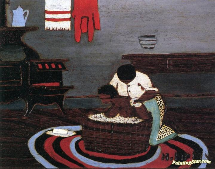 Saturday Night Bath Artwork By Horace Pippin Oil Painting