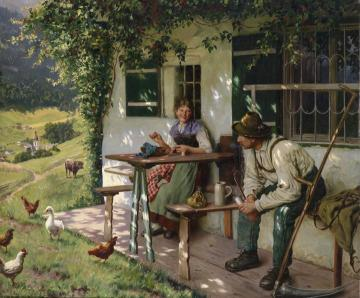 Young couple in front of a farmhouse in Upper Bavaria Artwork by Emil Rau