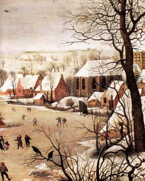Winter Landscape with Skaters and a Bird Trap (detail) Artwork by Pieter Bruegel the Elder