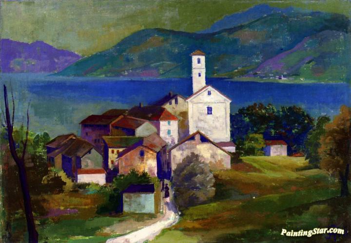 Italian Landscape Agnuzzo Artwork By Karl Hofer Oil Painting