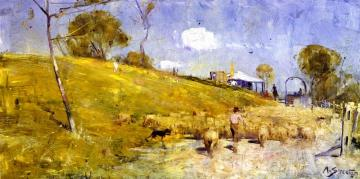 A Dusty Road At Templestowe Artwork by Sir Arthur Streeton