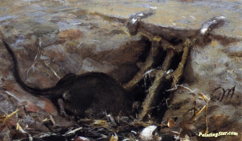 Rat In The Gutter Artwork By Adolph Von Menzel Oil