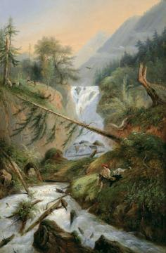 Shepherd Resting by the Waterfall Artwork by Alexandre Calame