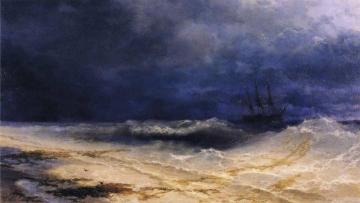 Ship in a Stormy Sea off the Coast Artwork by Ivan Constantinovich Aivazovsky