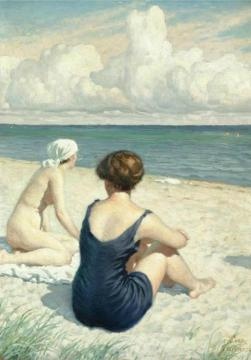 Women on the beach in Falsterbo Artwork by Paul Gustave Fischer