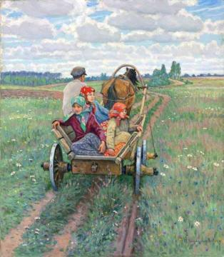 Going Home Artwork by Nikolai Petrovich Bogdanov-belsky