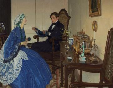 Blue Dress Artwork by Leonard Campbell Taylor