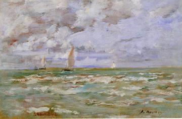 Standing off Deauville Artwork by Eugène-Louis Boudin