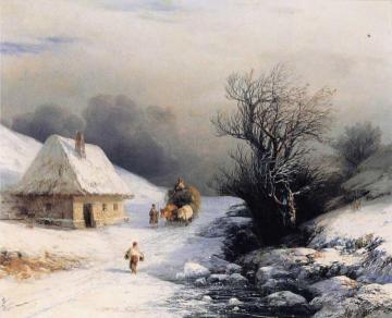 Little Russian Ox Cart In Winter Artwork by Ivan Constantinovich Aivazovsky