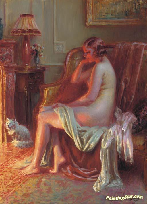 Nude At The Fireplace Artwork by Delphin Enjolras Oil Painting ...