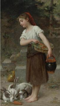 Feeding The Rabbits Artwork by Emile Munier