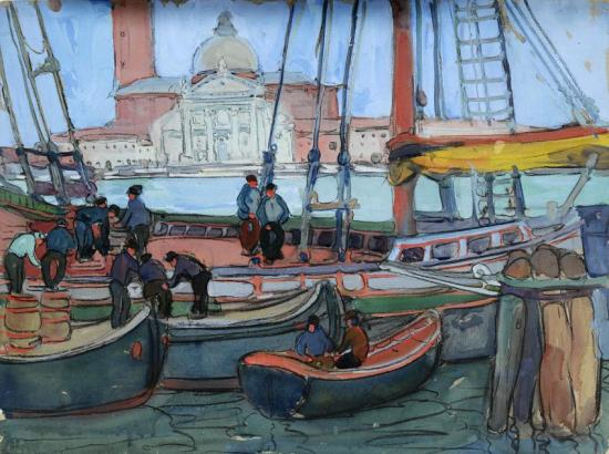 Boats, Unloading by a Dock, Venice Artwork by Jane Peterson