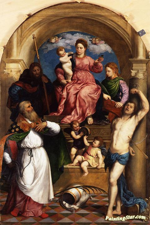 Enthroned Madonna With Child And Saints Artwork by Paris Bordone