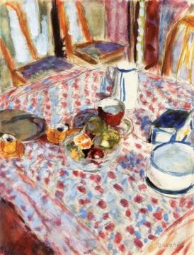 Still LIfe on a Red Checkered Tablecloth Artwork by Pierre Bonnard