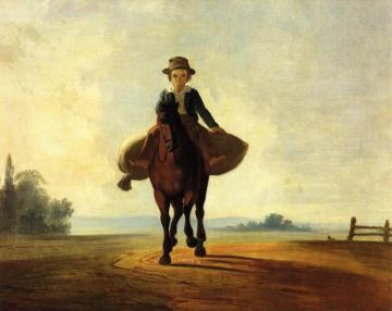 The Mill Boy: The Boonville Juvenile Clay Club Banner Artwork by George Caleb Bingham