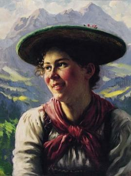 Girl in the Tyrolean Mountains Artwork by Emil Rau