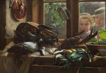 A Kitchen (Et køkkenbord) Artwork by Carl Heinrich Bloch