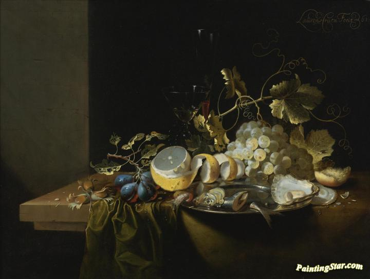Still Life of Hazelnuts, Grapes, Oysters and other Foods on a Drapped Table Artwork by Laurens Craen