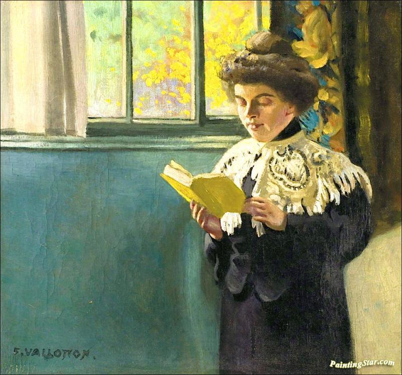 Woman reading at the window artwork by felix vallotton oil for Poster devant la fenetre je guette