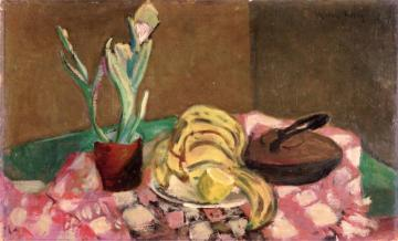 Still Life With Iron, Plant And Bananas Artwork by Milton Avery