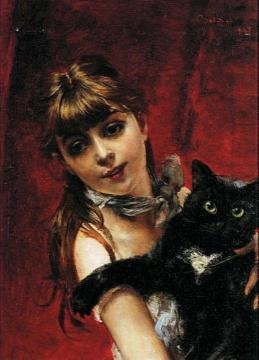 Girl With Black Cat Artwork by Giovanni Boldini