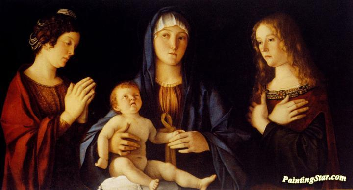 Virgin And Child Between St. Catherine And St. Mary Magdalen Artwork by Giovanni Bellini