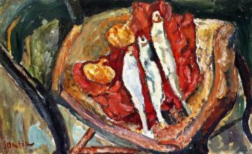 Still Life With Herrings And Onions Artwork by Chaim Soutine