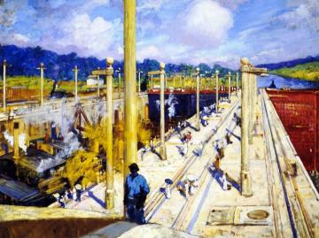 First Dredges through the Gatun Locks Artwork by Alson Skinner Clark